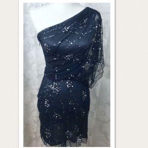 Adrianna Papell Navy 1 Shoulder Sequin Dress
